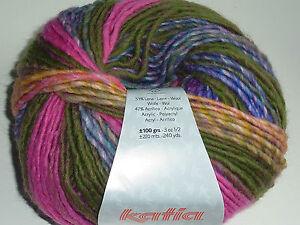 (8,50€/100g) Katia City Farbe 952 Super schöne Wolle lila grün pink aprikot