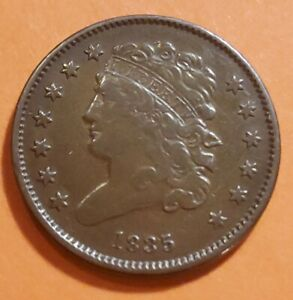 """1835 Classic Head Half Cent w/ Die Break in """"L"""" in LIBERTY. Ungraded VF"""