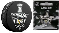 PITTSBURGH PENGUINS PUCK & PIN SET OF 2 NHL 2017 PLAYOFFS STANLEY CUP CHAMPIONS