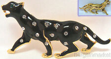 Black Enamel Crystal Spot Cat Jaguar Leopard Brooch Pin