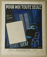 GOUACHE Originale Couverture Partition Édit Piaf Moi Toute Seule GUY-GÉRARD NOËL
