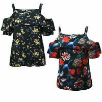 NEW Women Ladies Floral Top FRONT FRILL Cold Shoulder Cut Out Summer PLUS SIZE