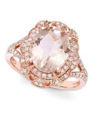 4Ct Oval Cut Morganite Simulnt Diamond Halo Engagement Ring Silver Rose Gold Fns