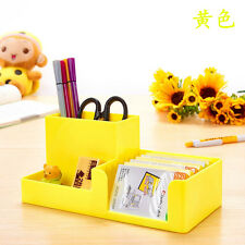 Yellow Office Plastic Desk Pen Pencil Holder Storage Stationery Organizer #JK