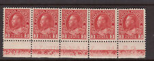 Canada #109 VF/NH Plate #127 Lathework D Strip Of Five