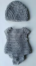 Hand crocheted Preemie or doll one piece and hat color gray