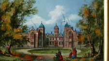 """ANTIQUE 19C ENGLAND REVERSE PAINTING """"ASTON HALL""""WITH MOP INLAY ,FRAMED #1"""