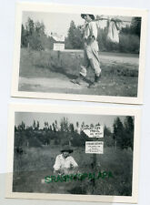 2 Vintage Photo's-STARVATION TRAIL-Hobo w/ Hat-Abe Wright Prop-Howard Davis Cty