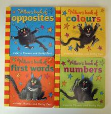 Wilbur Cat 4 Books Words Colours Valerie Thomas Fun Learning Board Nursery New