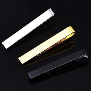 Mens Skinny 4CM Slide On Tie Pin Tie Clip Clasp Slim Tie Black Gold Silver