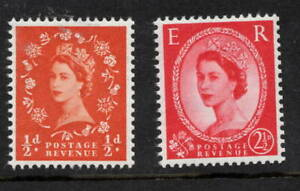 1958 Wildings. SG570k + SG574k. 1/2d + 2 1/2d chalky paper varieties. Fine MNH.