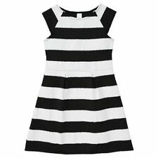 GIRLS size 12 BLACK & WHITE  STRIPE textured PARTY DRESS NEW formal graduation