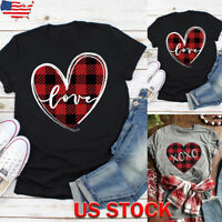 US Women Plaid Heart Letter Print Blouse Tops Ladies Casual Short Sleeve T-shirt