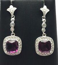 Sterling Silver Cushion Purple Amethyst CZ Halo Swirl Drop Dangle Post Earrings