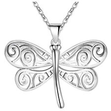 925 Sterling Silver Cute Dragonfly Pendant Necklace Women Jewelry Fashion Gift