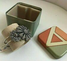 Fossil Crystal Flower Cuff Hinge Bracelet Silvertone New - NWT$68 + Fossil Box