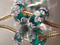 European Charm Murano Glass Bead Black Blue Green Flower Stripes Buy5FreeShip