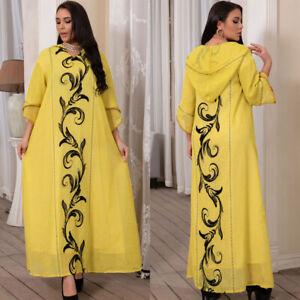 Moroocan Women Fashion Robe Muslim Abaya Long Maxi Dress Hooded Kaftan Jilbab