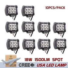 10PCS 18W CREE LED WORK LIGHT SPOT BEAM OFFROAD DRIVING TRUCK SUV BOAT 4X4 4WD
