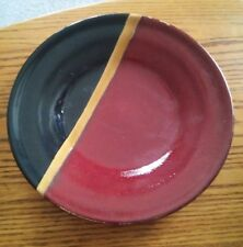"015 11"" Stoneware Multi Color Red,Tan,Black Dinner Plate Heavy Dinnerwear"