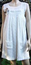 Heaven crème dentelle maille sans manches doublé crâne motif poche robe d'été taille 12