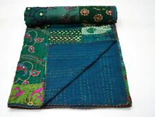 Khambadiya Queen Cotton Kantha Quilt Throw Blanket Bedspread Indian Gudari