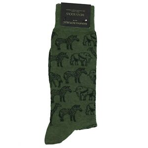 Banana Republic Socks Elephants Giraffes Zebras Men's Dark Olive Socks