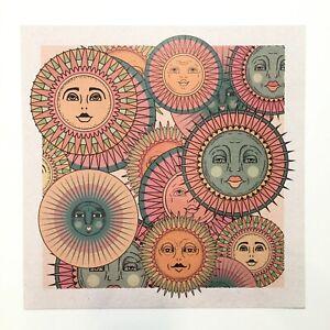 "CAI & JO PRINT Sun Faces HOME BOHO DECOR Poster WALL ART 70s BEDROOM 12""x12"""