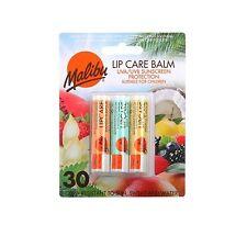 Malibu Lip Care Balm Sun Protection UVA UVB SPF 30 3 Pack