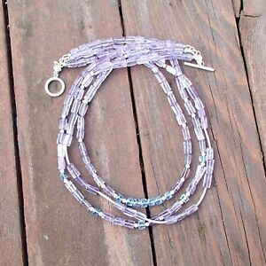 Triple Strand Natural Amethyst Blue Topaz Necklace in Sterling Silver , February