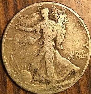 1945 USA SILVER FIFTY 50 CENTS HALF DOLLAR COINS