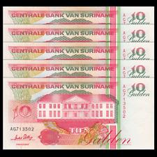 Lot 5 PCS, Suriname 10 Gulden, 1996, P-137, UNC, Banknotes, Original