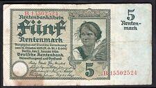 Germany, Rentenbankschein, 5 rentenmark, 2-1-1926, B.15502524. (WPM 169). GF+.