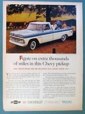 Orig 1960 Chevrolet Fleetside Pickup Truck Ad FIGURE ON EXTRA THOUSANDS OF MILES