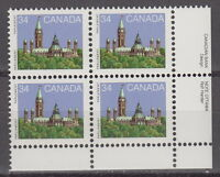 CANADA #925 34¢ Parliament LR Inscription Block MNH