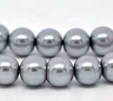8mm SILVER GRAY Round Glass Pearls 50 beads bgl0445