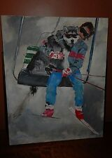 Downhill Skiing, Original Oil Painting: Scott Kennett and his Malamute Zudnick