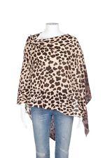 NWT IN 100% Cashmere Wrap Leopard Poncho Pullover Shawl Tan Cream Brown Sweater