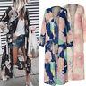 Womens Floral Loose Kimono Cardigan Boho Beach Chiffon Tops Long Coat Blouse US