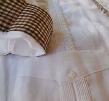 Mens Linen Guayabera 4 Pack XL Long Sleeve Brown Red Yellow Blue Gingham accents