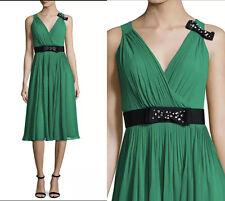 NWT Kate Spade New York sleeveless silk chiffon midi dress emerald ring size 2