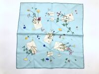 HERMES Petit Carre 45 Scarf Silk 100% Des fleurs pour le Stole Blue 3979k