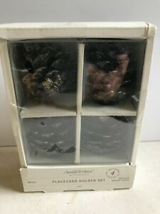 NIB Hearth & Hand With Set Of 4 Metal PINECONE Place Card Holders Farmhouse