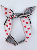 Women Girls Heart Check Ear Bow Wire Party Hair Head Band Headband bandana scarf