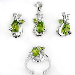 Natural Green Peridot Gemstone 925 Sterling Silver Pendant Ring Earring Set