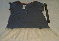 Taylor & Sage Women's Top Size L Gray Short Sleeve with Lace Trim NEW with TAGS