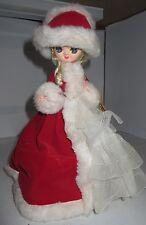 "Vintage Bradley Paper Mache Doll Big Eye Girl 10"" Christmas  Musical Spinning"