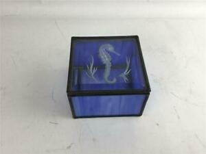 Blue Stained Glass With Beveled Lid Trinket Box Etched Seahorse