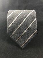 Dolce & Gabbana Black Gray Striped Silk/Wool Blend Necktie