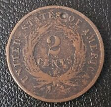 An 1864 United States Two Cents Coin.